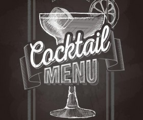 Cocktail menu cover with chalkboard and chalk drawing vector 04