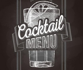 Cocktail menu cover with chalkboard and chalk drawing vector 05