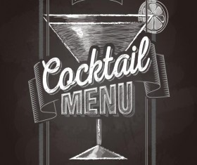 Cocktail menu cover with chalkboard and chalk drawing vector 06