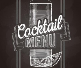 Cocktail menu cover with chalkboard and chalk drawing vector 07