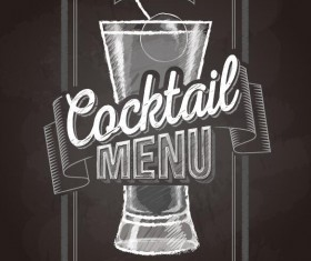 Cocktail menu cover with chalkboard and chalk drawing vector 08
