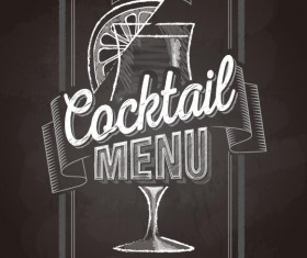 Cocktail menu cover with chalkboard and chalk drawing vector 09