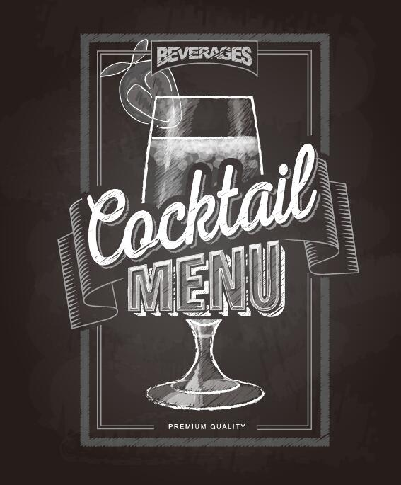 Cocktail menu cover with chalkboard and chalk drawing vector 10