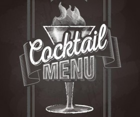 Cocktail menu cover with chalkboard and chalk drawing vector 11
