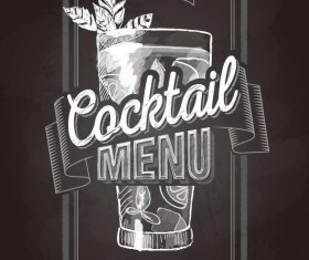Cocktail menu cover with chalkboard and chalk drawing vector 12