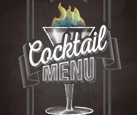 Cocktail menu cover with chalkboard and chalk drawing vector 13
