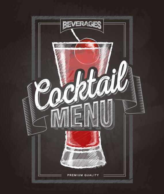 Cocktail menu cover with chalkboard and chalk drawing vector 14