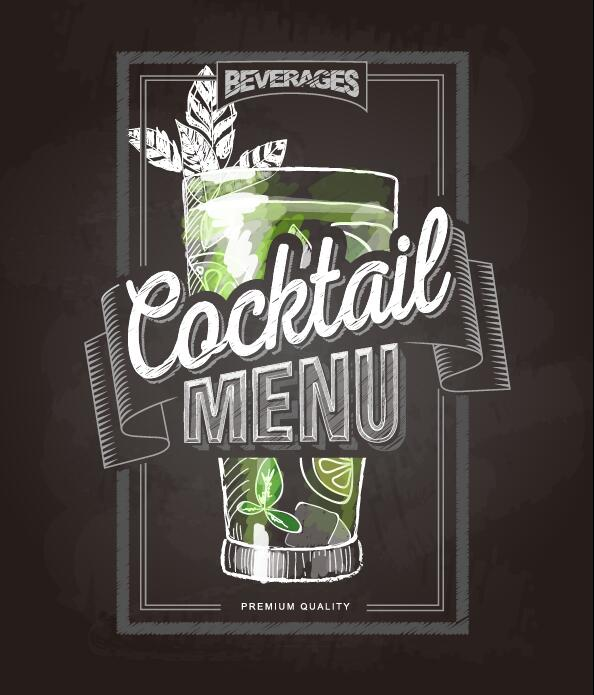 Cocktail menu cover with chalkboard and chalk drawing vector 15
