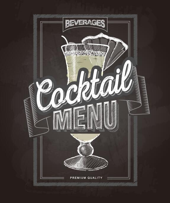 Cocktail menu cover with chalkboard and chalk drawing vector 16