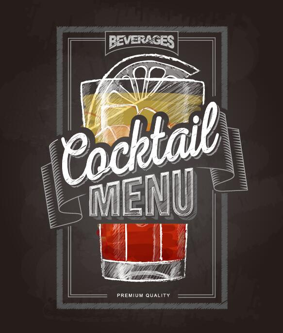 Cocktail menu cover with chalkboard and chalk drawing vector 17
