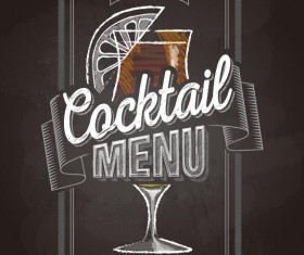 Cocktail menu cover with chalkboard and chalk drawing vector 18