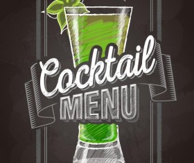 Cocktail menu cover with chalkboard and chalk drawing vector 19