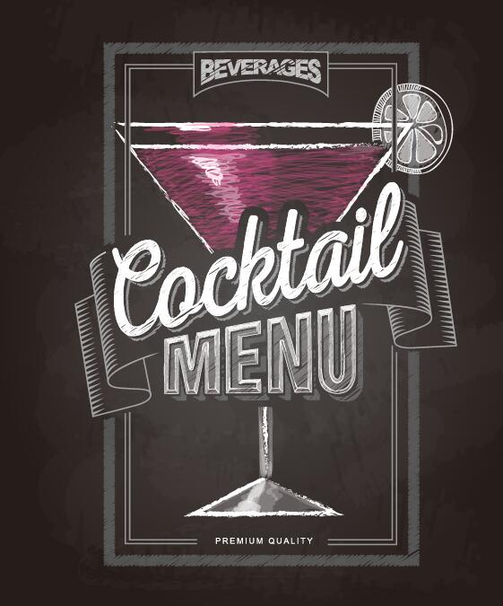 Cocktail menu cover with chalkboard and chalk drawing vector 20