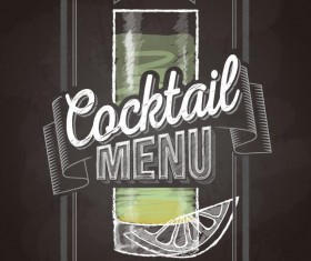 Cocktail menu cover with chalkboard and chalk drawing vector 22