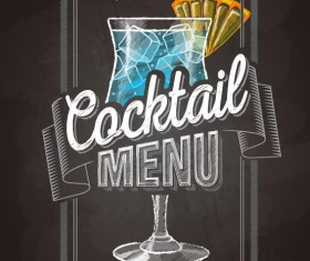 Cocktail menu cover with chalkboard and chalk drawing vector 23