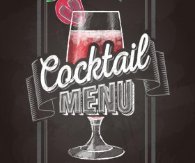 Cocktail menu cover with chalkboard and chalk drawing vector 24