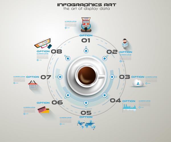 Coffee infographics creative design vector 02
