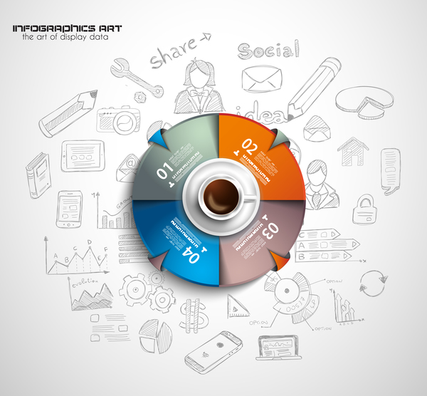 Coffee infographics creative design vector 04