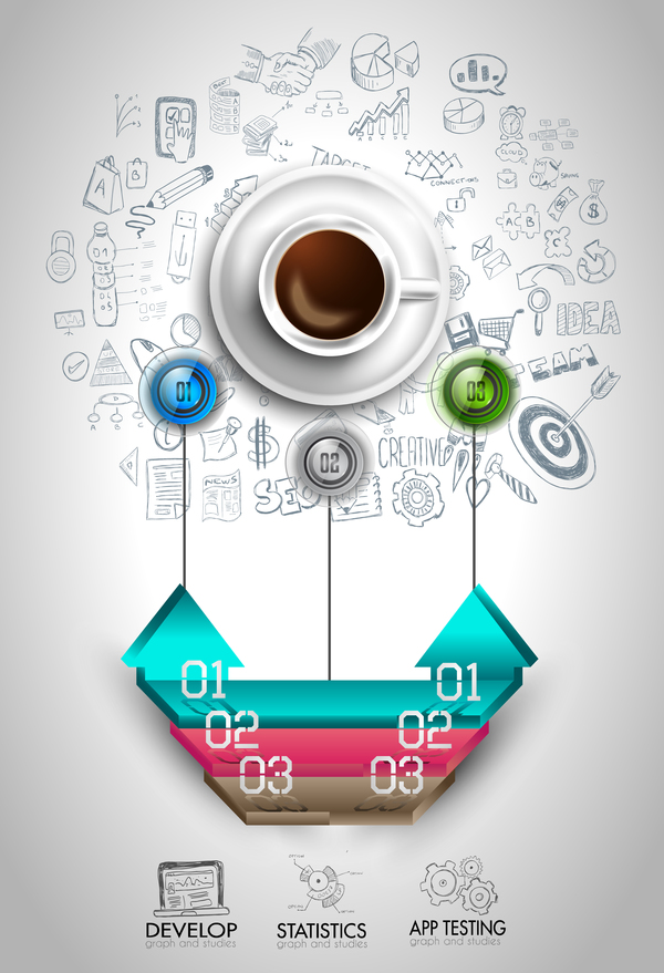 Infograph background template with a fresh coffee on table with infographic sketches