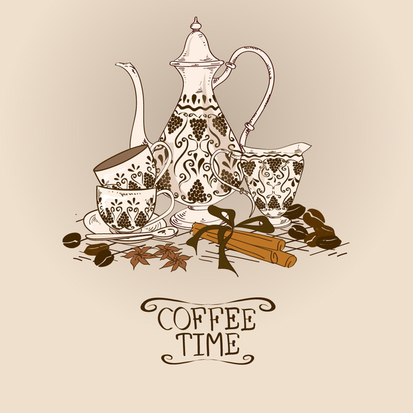 Coffee time poster hand drawn design vector 01