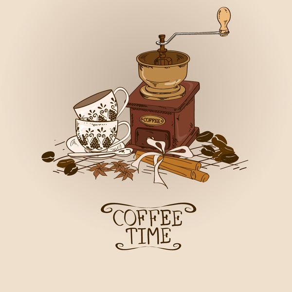 Coffee time poster hand drawn design vector 02