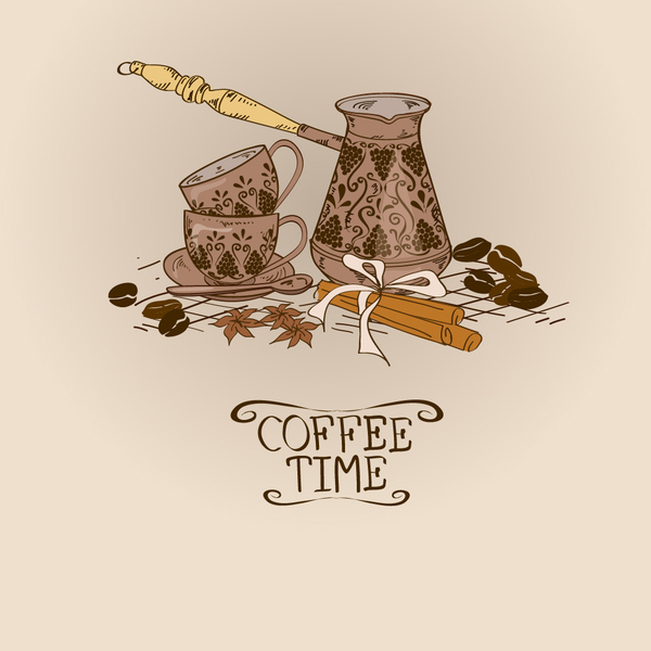 Coffee time poster hand drawn design vector 03