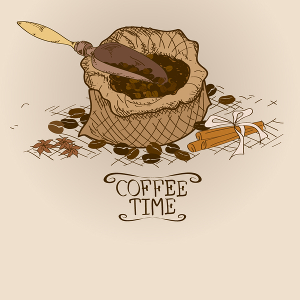 Coffee time poster hand drawn design vector 04