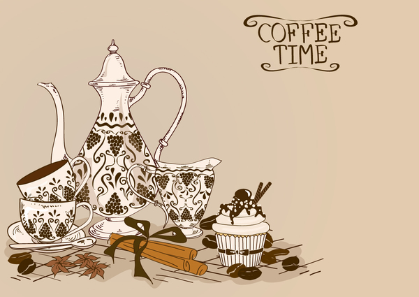 Coffee time poster hand drawn design vector 05