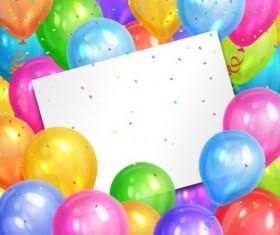 Color balloon with birthday card design vector