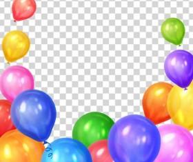 Colored balloon birthday illustration vector 01