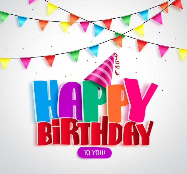 Colored flag with birthday background vectors 02
