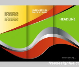 Colored flyer with brochure and book vector 02