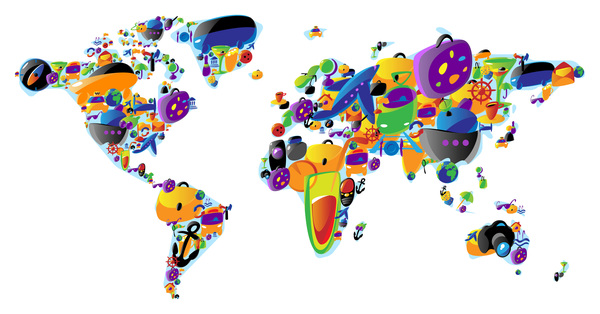 Colored map with travel elements vector