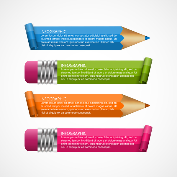 Colored pencil with business infographic vector 03