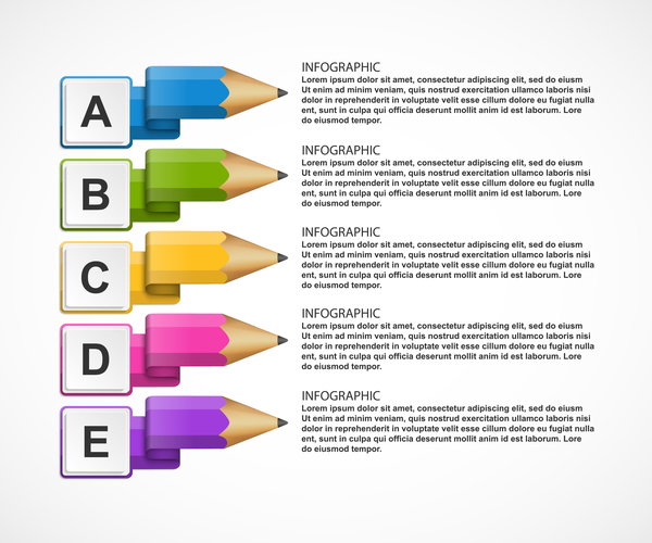 Colored pencil with business infographic vector 05