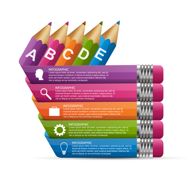 Colored pencil with business infographic vector 08