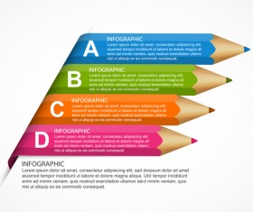 Colored pencil with business infographic vector 11
