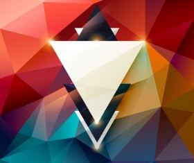 Colored polygon with abstract background vector