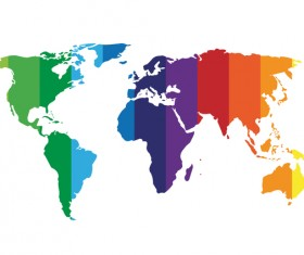 Colored world map design vector set 02