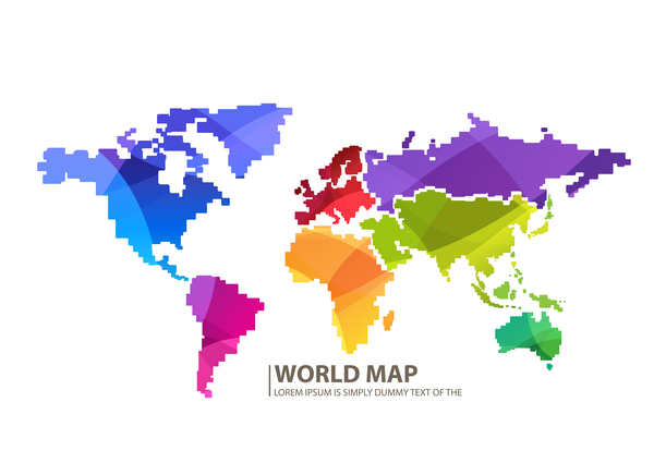 Colored world map design vector set 03