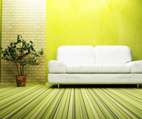 Colorful living room with green plants HD picture