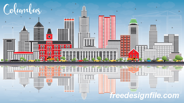 Columbus city landscape vectors