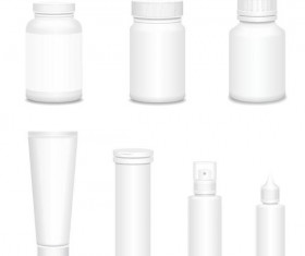 Cosmetic bottles backage set vector 01