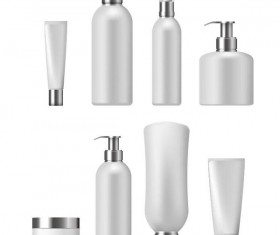 Cosmetic bottles backage set vector 02
