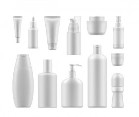 Cosmetic bottles backage set vector 03