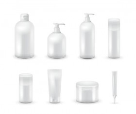Cosmetic bottles backage set vector 04