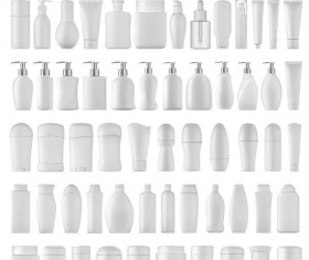 Cosmetic bottles backage set vector 05