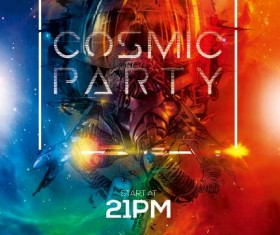 Cosmic party flyer PSD template