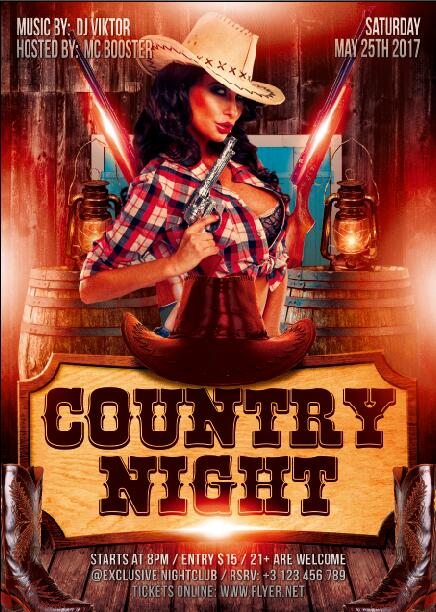 Country night party flyer PSD template