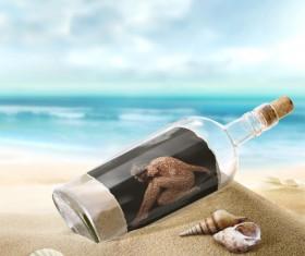 Creative aesthetic drift bottle Stock Photo